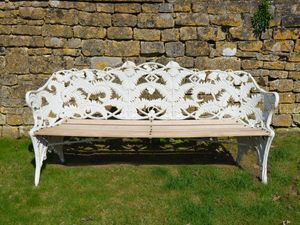 A large Coalbrookdale Fern and Blackberry pattern cast iron seat