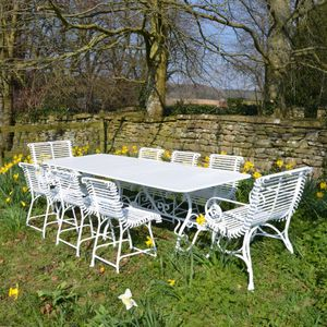 The Large Rectangular Garden Dining Table for Eight with Six Ladderback Chairs and Two Ladderback Carver Chairs