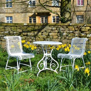 The Circular Garden Table for Two with Two Ladderback Garden Chairs