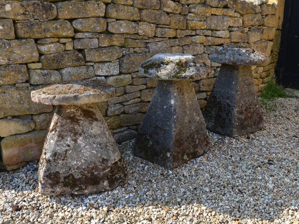 A group of three 18th century staddlestones
