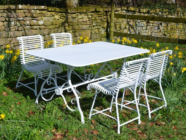 The Small Rectangular Garden Dining Table for Four with Four Ladderback Chairs