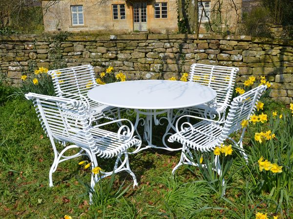 The Large Circular Dining Table for Four with Four Ladderback Carver Chairs