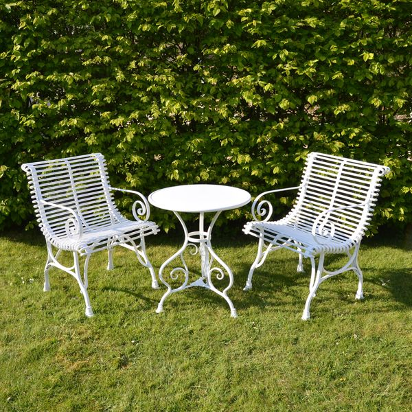 The Circular Garden Table for Two with Two Low Ladderback Carver Chairs