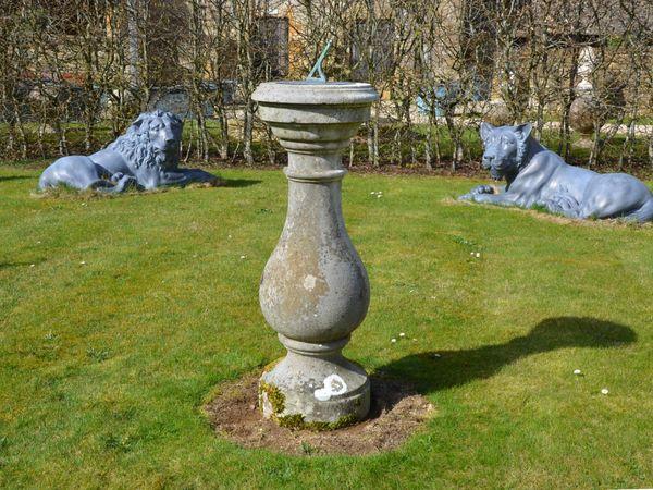 A Portland stone sundial pedestal