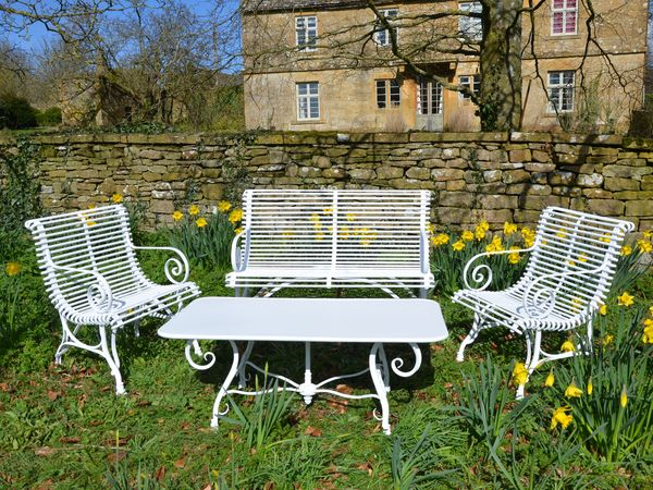 The Rectangular Garden Coffee Table with Two Low Ladderback Carvers and a Small Straight Ladderback Garden Seat