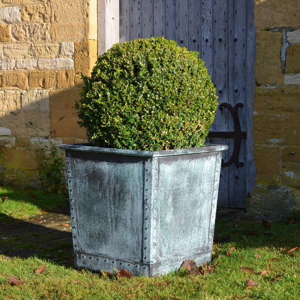 The Square Terrace Copper Garden Planter - Small - Rolled Edge