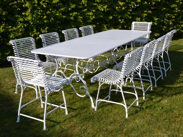 The Large Rectangular Garden Dining Table for Ten with Ten Ladderback Chairs