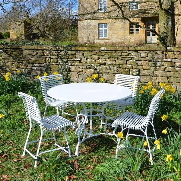 The Small Circular Garden Dining Table for Four with Four Ladderback Garden Chairs