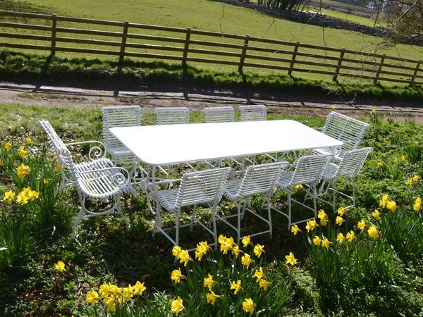 The Large Rectangular Garden Dining Table for Ten with Eight Ladderback Chairs and Two Ladderback Carver Chairs