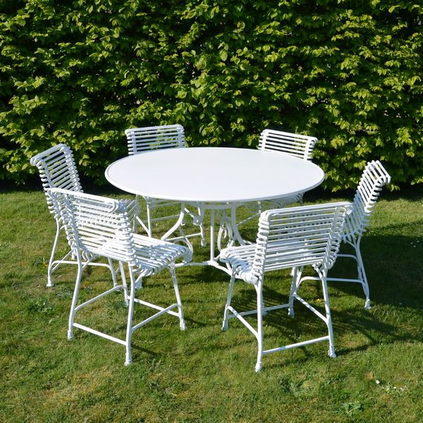 The Small Circular Garden Dining Table for Six with Six Ladderback Garden Chairs