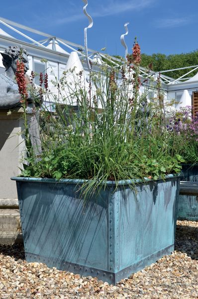 The Square Copper Garden Planter - Medium - Rolled Edge