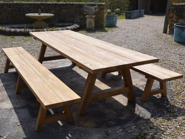 The Farmhouse Garden Dining Table and Benches Set - Large