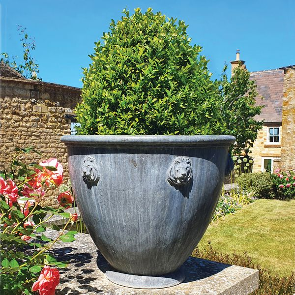 The Townhouse Lead Garden Planter - Small - Lion Mask