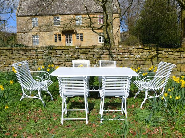The Small Rectangular Garden Dining Table for Six with Four Ladderback Chairs and Two Ladderback Carver Chairs
