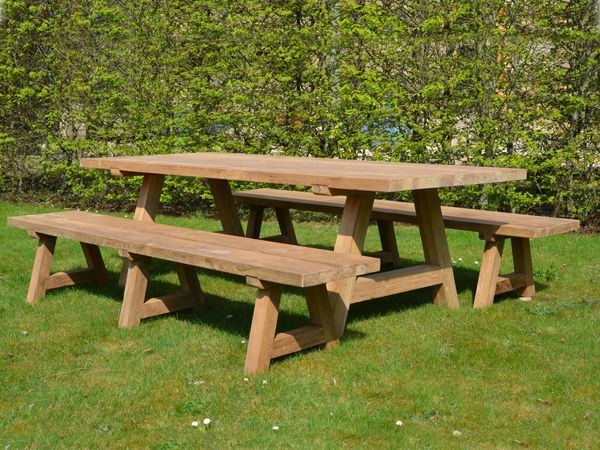 The Wooden Garden Table and Benches Set