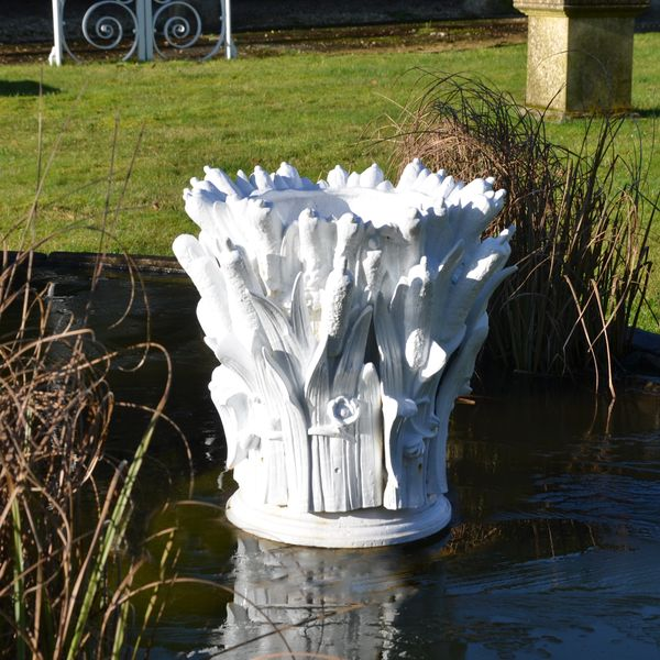 A French 19th century cast iron fountain head in the form of a collection of bulrushes
