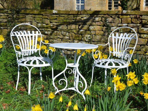 The Circular Garden Table for Two with Two Sprung Carver Chairs