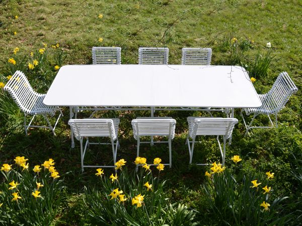 The Large Rectangular Garden Dining Table for Eight with Eight Ladderback Chairs