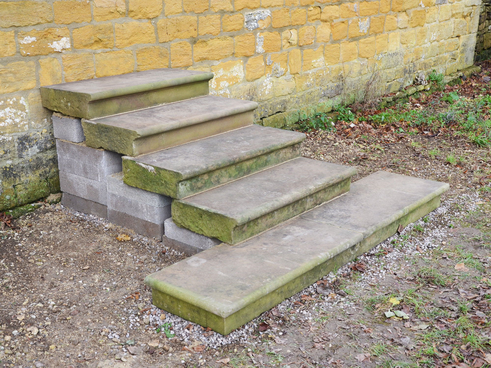 A suite of early 20th century York sandstone steps