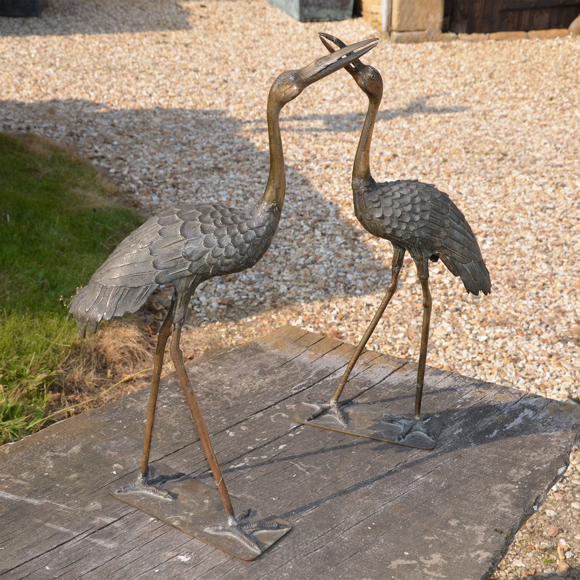 A single small scale Japanese bronze crane
