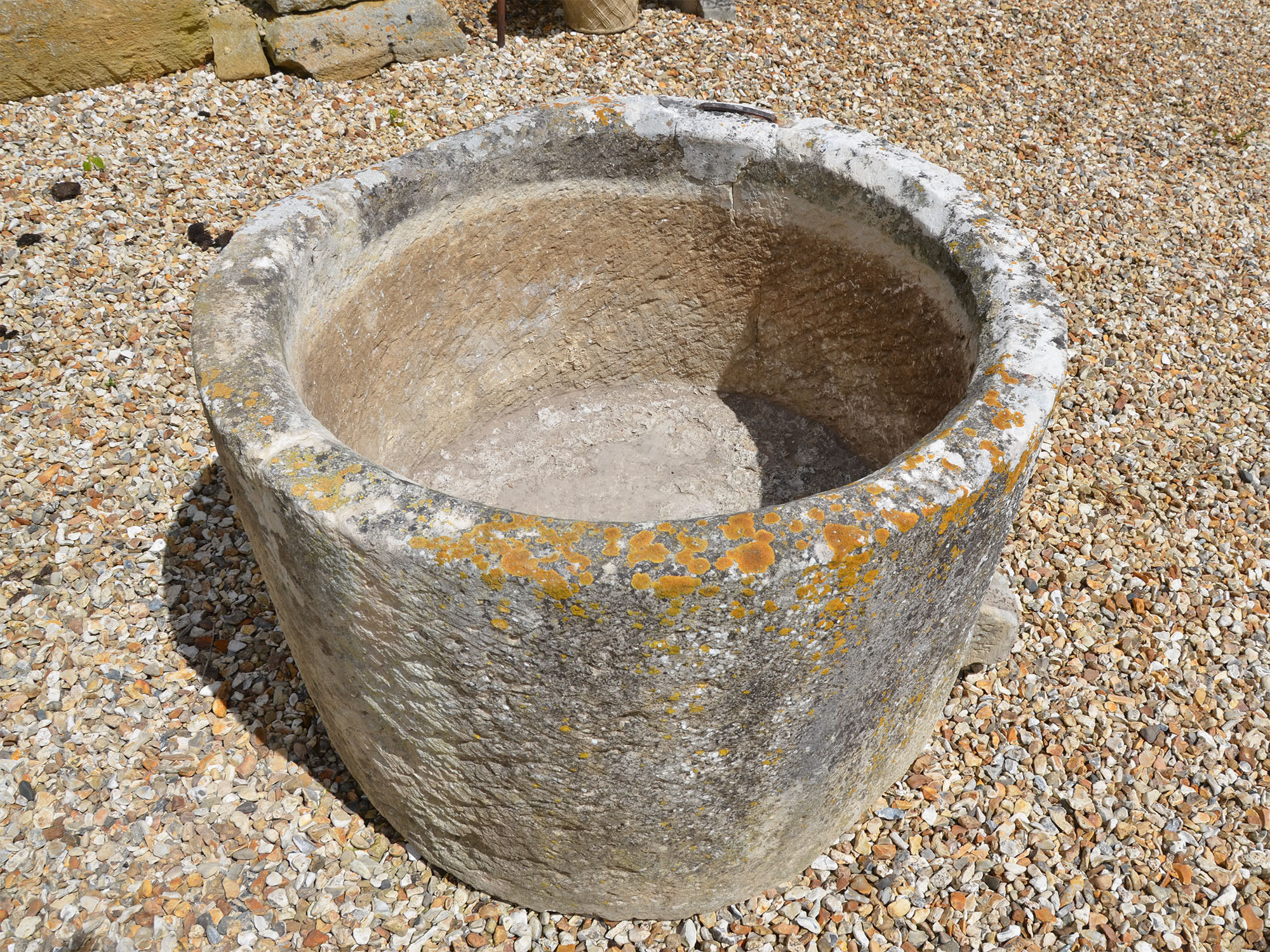 An 18th century circular stone trough