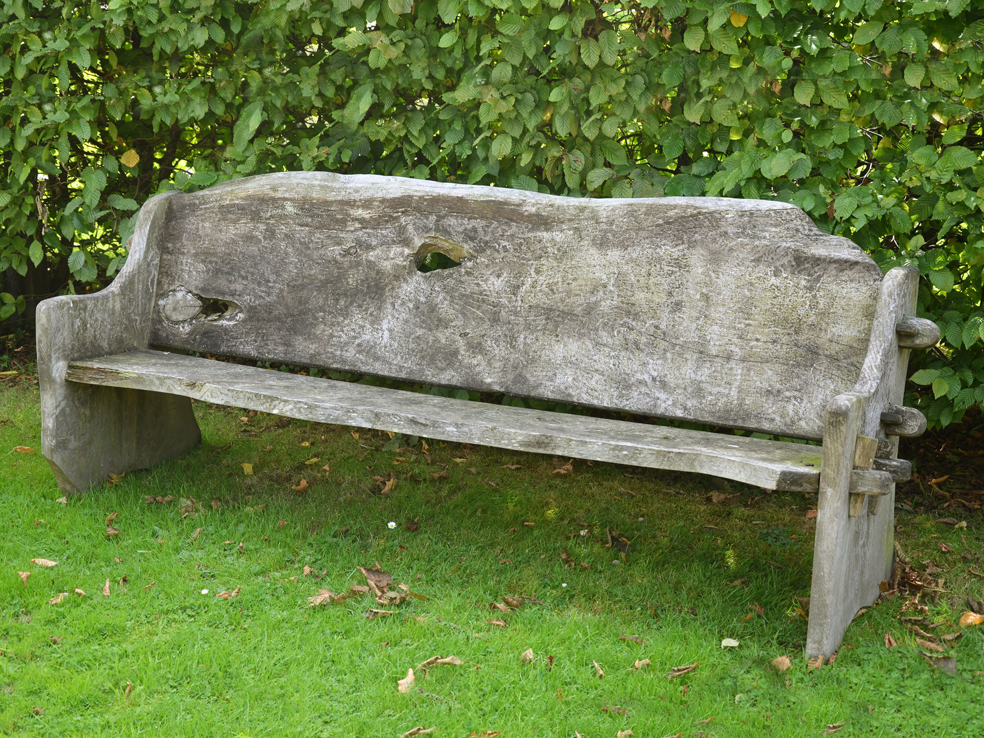 A long rustic elm plank seat