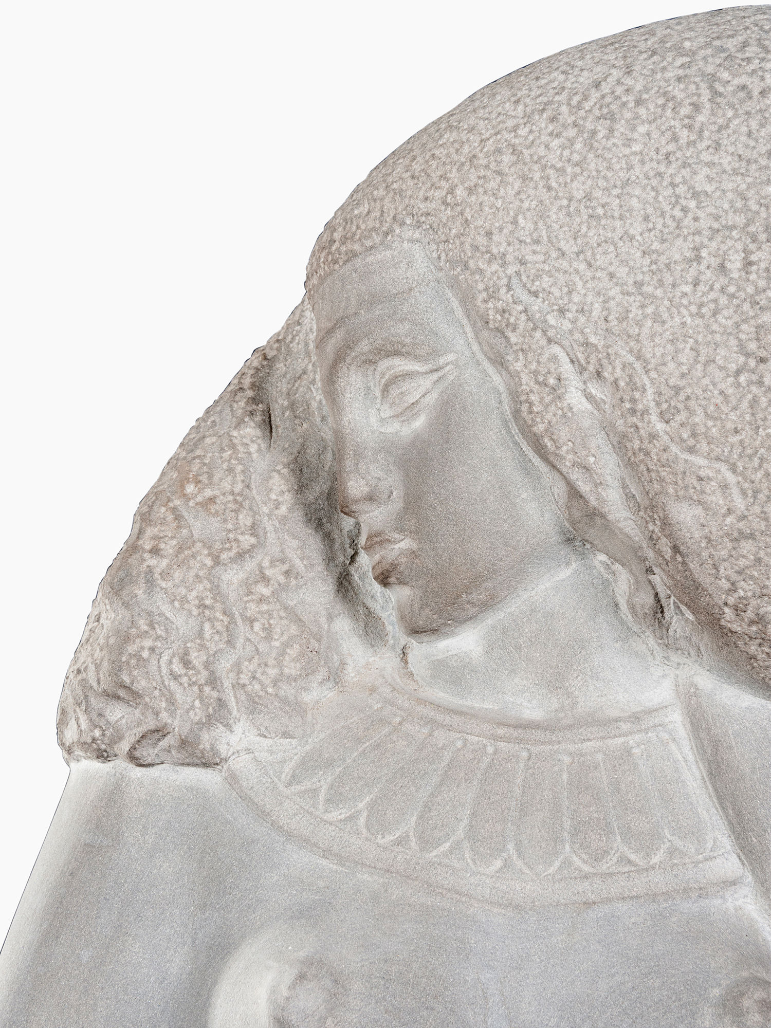 An elegant carved sandstone statue of a young Nubian woman