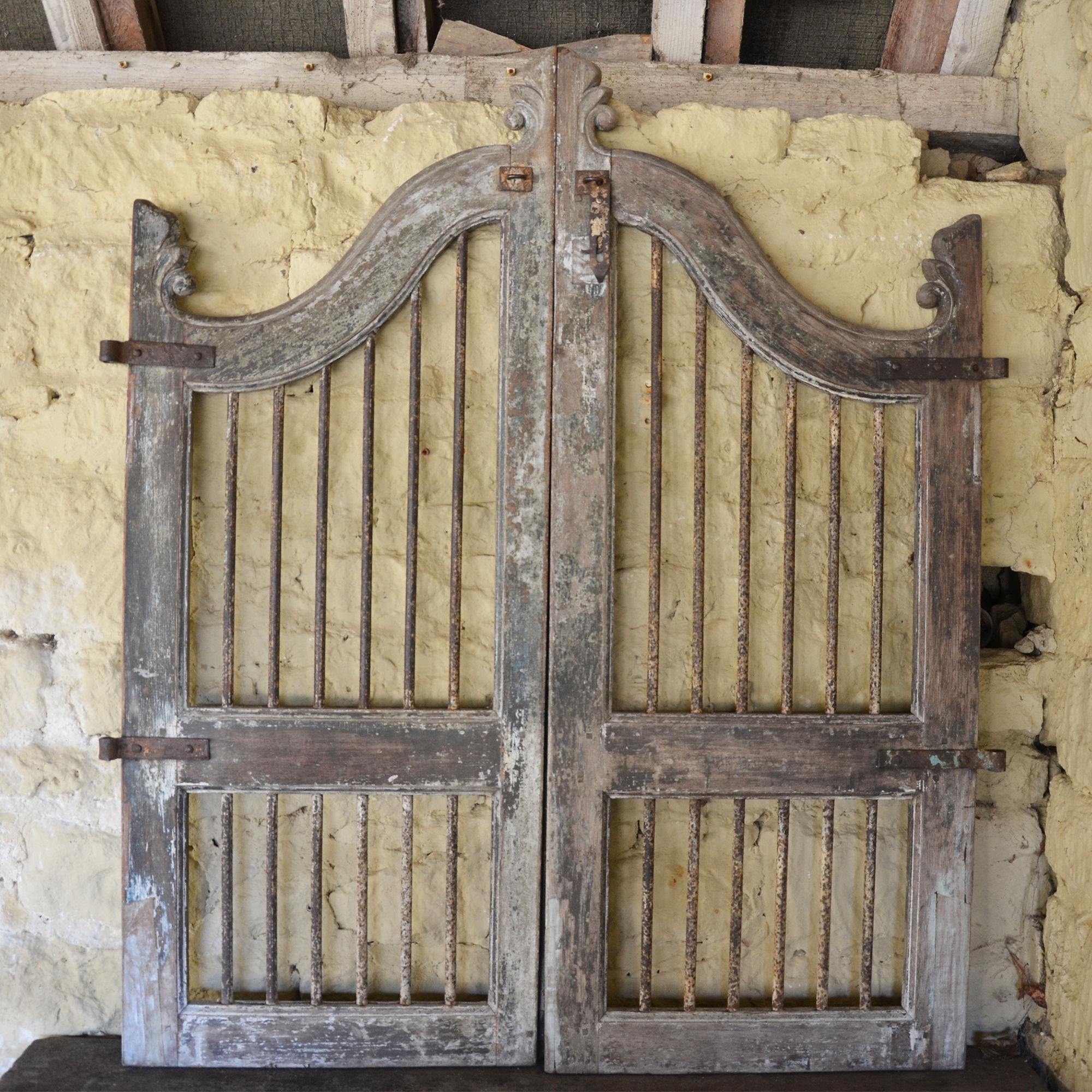 A pair of vintage wooden garden gates
