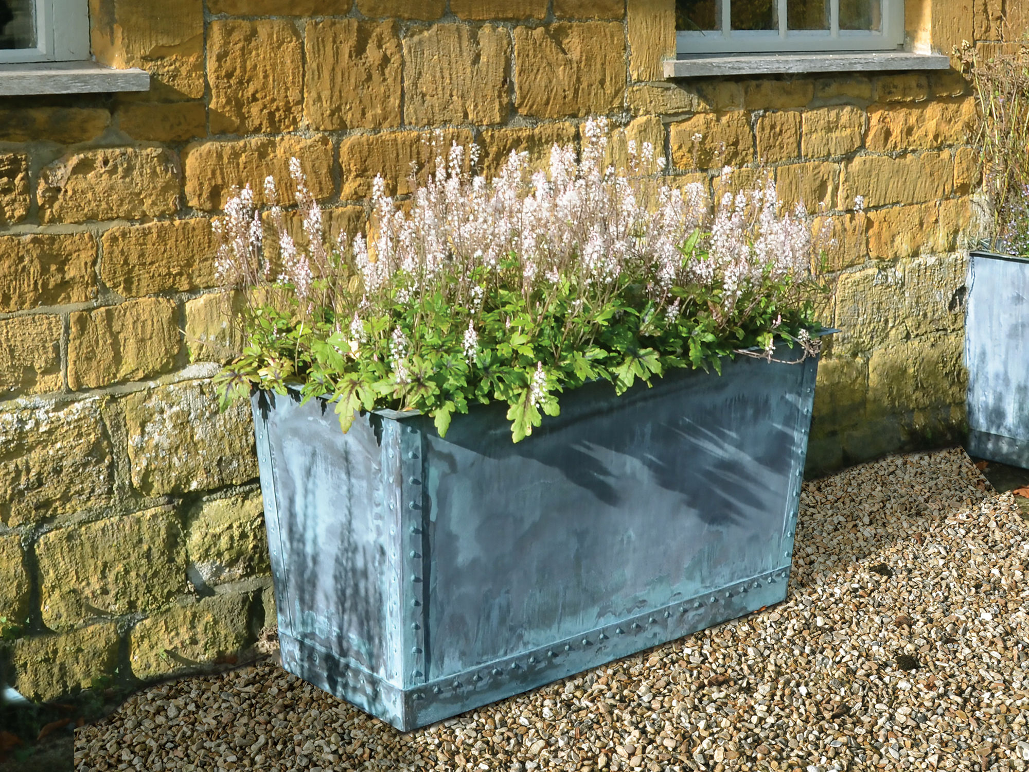 The Rectangular Copper Garden Planter - Small Wide