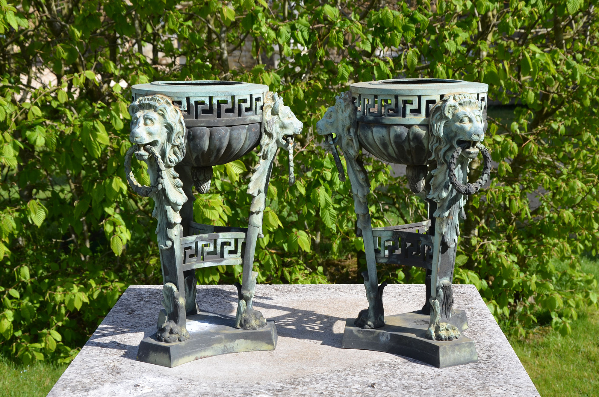 A pair of bronze braziers