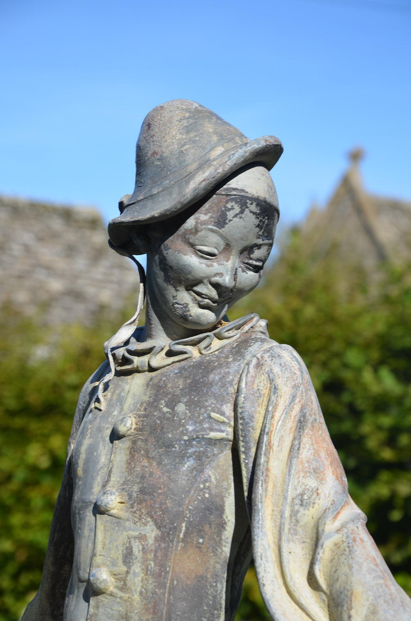 A lead figure of Pierrot by Gertrude Knoblock 1880 - 1964