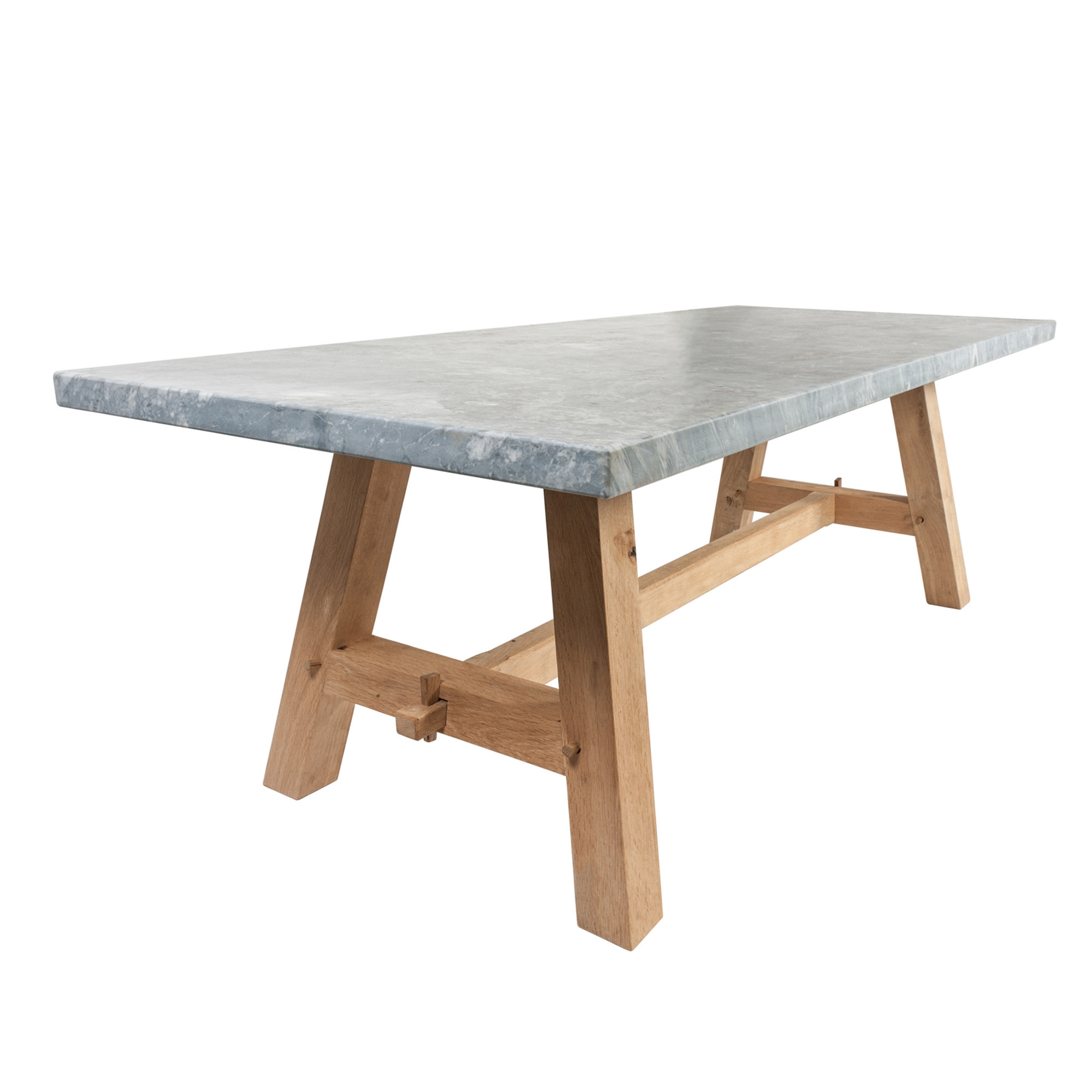 The English Oak Garden Dining Table with Arabesque Marble Top