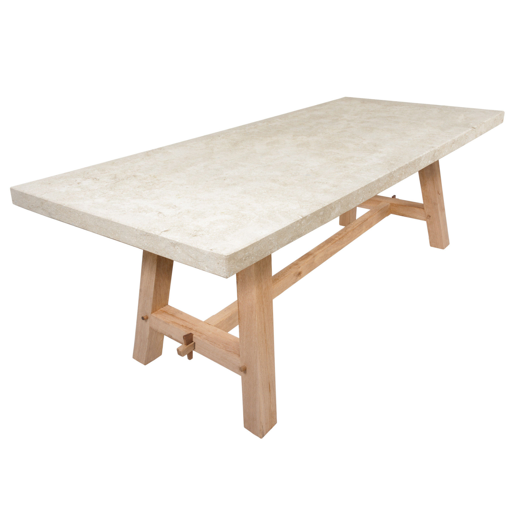 The English Oak Garden Dining Table with Natural Limestone Top