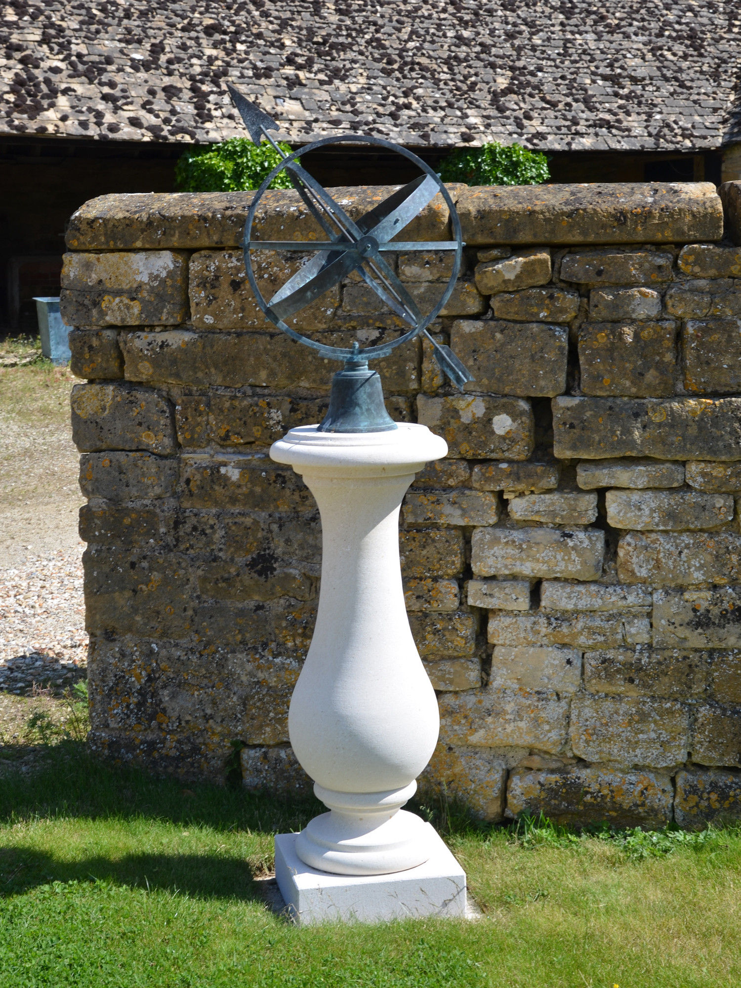 The Solstice Sundial Pedestal with Zenith Armillary Sphere