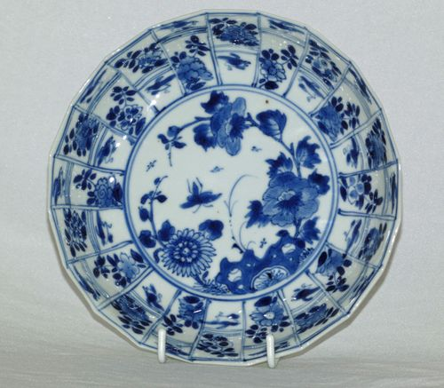 Chinese Kangxi Blue and White Molded Porcelain Plate