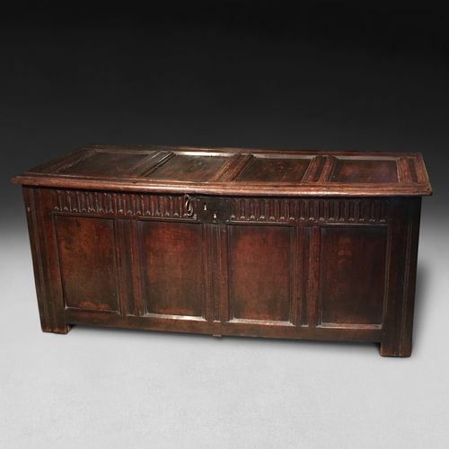 Mid 17th century Oak four panel Coffer