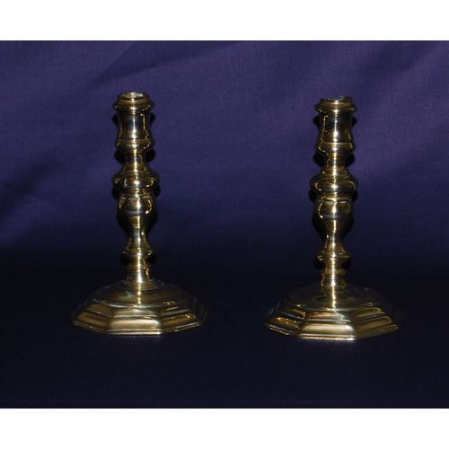 Pair of Early 18th Century Brass Candlesticks