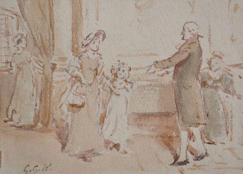 George Goodwin Kilburne - The Greeting - watercolour