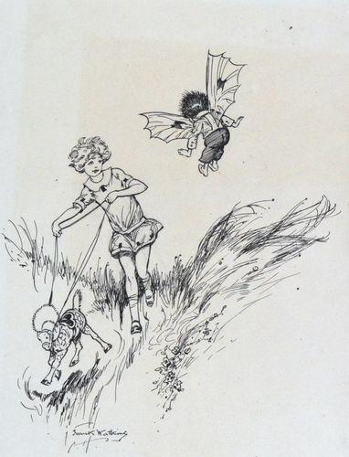 Frank Watkins - Surprised - 1920s Children's Book Illustration
