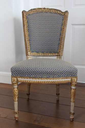6 Antique Gilt and Upholstered Dining Chairs