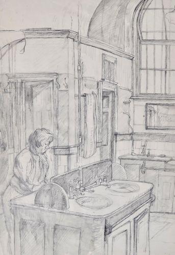 Carolyn Sergeant - The Washroom - pencil drawing