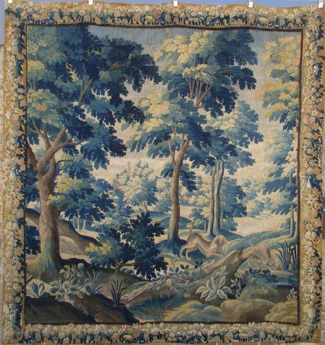 Large Flemish Verdure Tapestry Panel, ca. 1700