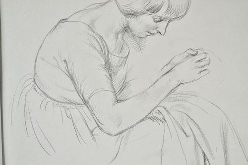 Randolph Schwabe - Birdie Sewing - Pencil