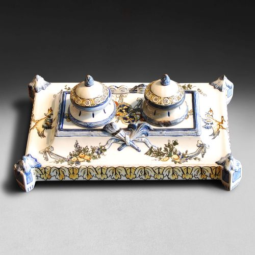French Faience Desk Set from Gien Factory