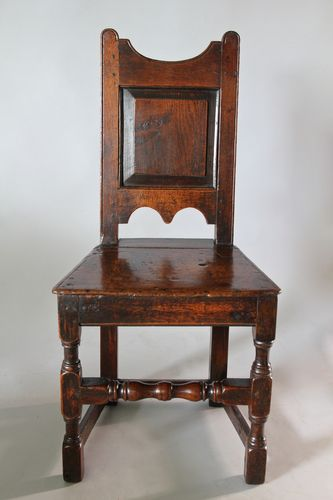 17th Century Panelled Back Oak Chair.