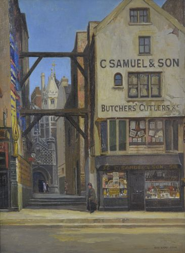 Rex Vicat Cole - The Old Shop in Long Lane - oil on board