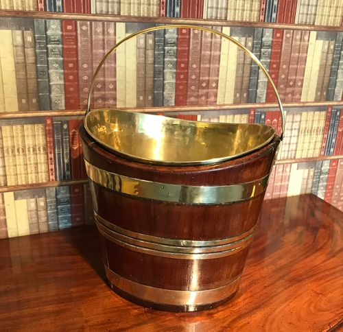 George III Brass Bound Mahogany Oyster Bucket