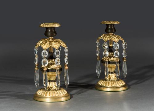 Pair of Early 19th Century Regency Period Gilt Metal & Cut Glass Candlestick Lustres