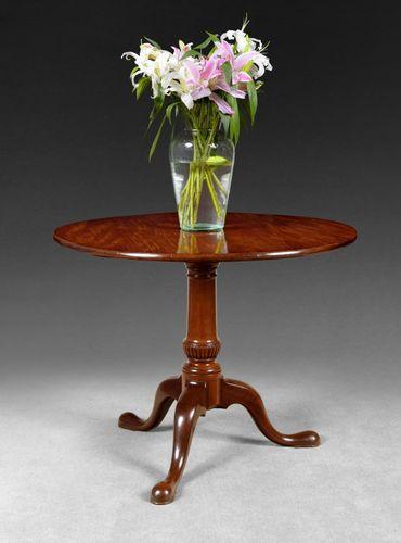 Mid 18th Century Figured Mahogany Circular Tripod Centre or Tea Table