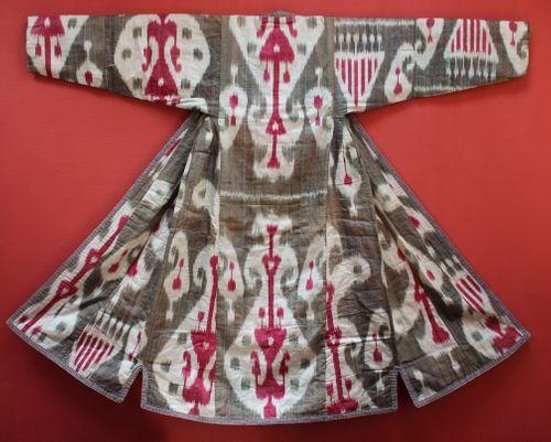 19th-century Silk Ikat Munisak (Lady's Robe)